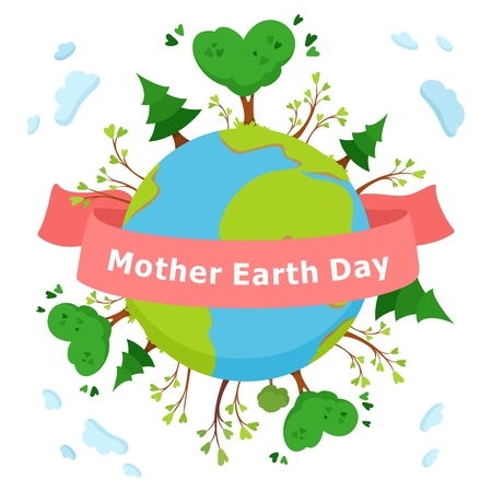 Mother Earth Day cartoon concept. Environmental poster, banner, emblem. Green tree vector illustration on white background