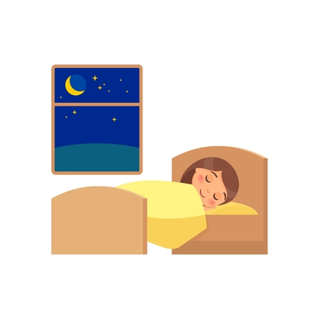 Girl sleeping on the bed. Daily regime, vector illustration