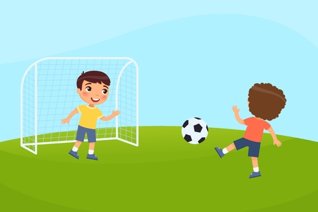 Two boys are playing soccer. Vector illustration