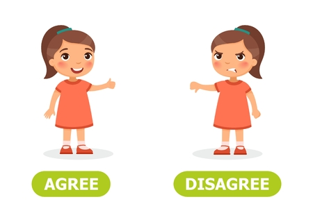 Girl shows thumb up and thumb down. Opposite wordcard for agree  and disagree illustration