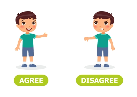 Boy shows thumb up and thumb down. English opposite word of agree and disagree illustration