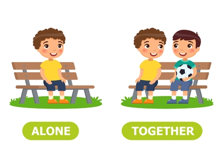 Boys are sitting on the bench. Alone and together illustration. Vocabulary English opposite words. Illustration