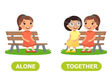 Auf der Bank sitzen Mädchen. Gegenüberliegende Wordcard für allein und zusammen Illustration. Vektorgrafik