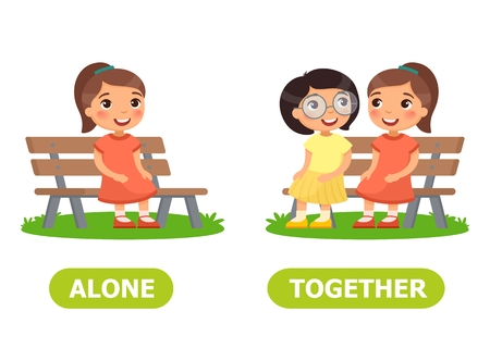 Girls are sitting on the bench. Opposite wordcard for alone and together illustration.