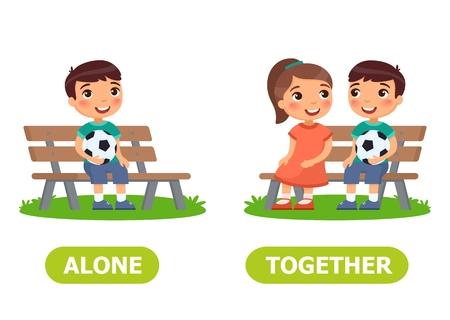 Niño y niña están sentados en el banco. Inglés palabra opuesta de solo y juntos ilustración
