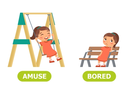 Happy girl is swinging on a swing,  sad girl is sitting on a bench. Amuse and bored illustration. Vocabulary English opposite words.