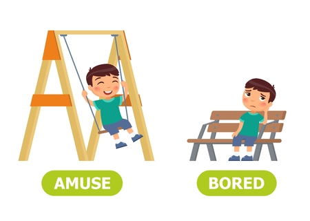 Happy boy is swinging on a swing, sad boy is sitting on a bench. Opposite wordcard for amuse  and bored illustration.
