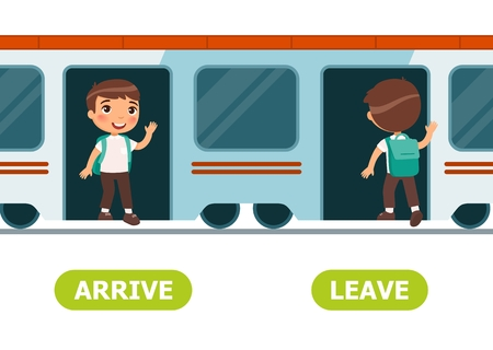 Boy gets out of  train, boy gets on train. English opposite word of arrive and leave illustration