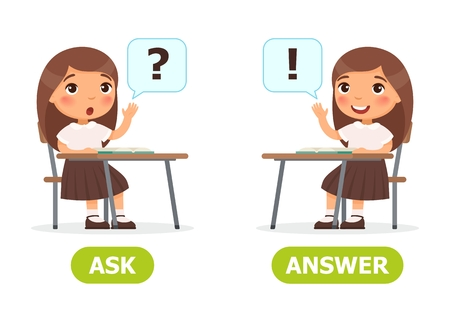 Girl sits at a school desk and raising hand. Opposite wordcard for ask and answer illustration.