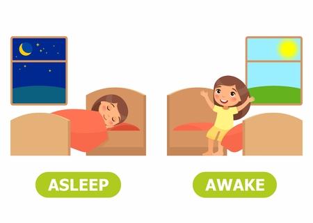 La fille dort sur le lit, la fille se réveille et s'assoit sur le lit. Wordcard opposé pour l'illustration endormie et éveillée