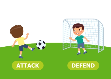 Boys are playing soccer. Opposite wordcard for attack and defend illustration