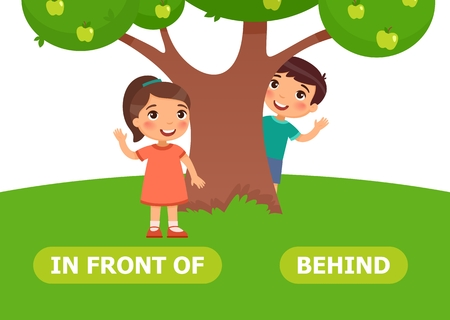 Girl stands in front of a tree, boy stands behind a tree. Illustration for Opposite wordcard 向量圖像