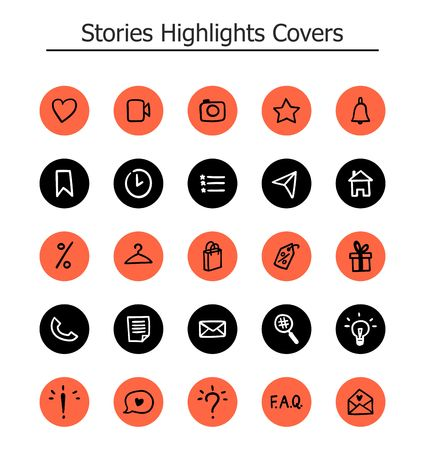 Trendy Highlights Stories Icons. Set of 25 hand drawn illustration covers in coral, black and white colours. Fully editable, scalable vector file. 向量圖像