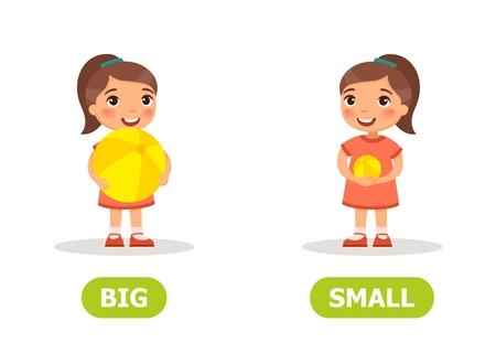 Illustrazione degli opposti palla grande e piccola. Tessera per sussidio didattico, per l'apprendimento di una lingua straniera. Illustrazione vettoriale su sfondo bianco.