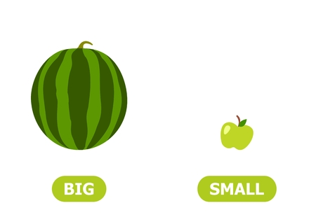 Illustration of the opposites of a big watermelon and a small apple.