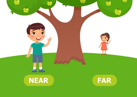 Illustration of opposites. Boy stands near girlfriend for schooling. Vector illustration on white background. 일러스트