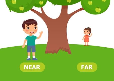 Illustrazione degli opposti. Il ragazzo sta vicino alla ragazza per la scuola. Illustrazione vettoriale su sfondo bianco.