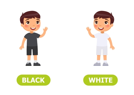 Illustration of opposites. Little boy in black and in white clothes.Card for teaching aid, for a foreign language learning. Vector illustration on white background. Çizim