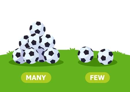 Illustrazione degli opposti. Tanti e pochi palloni da calcio. Tessera per sussidio didattico, per l'apprendimento di una lingua straniera. Illustrazione vettoriale su sfondo bianco.
