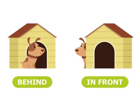Puppy staat voor de bak en achter de bak. Illustratie van tegenstellingen voor en achter. Kaart voor onderwijshulp, voor het leren van een vreemde taal. Vectorillustratie op witte achtergrond.