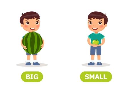 Niño con sandía y manzana. Ilustración de los opuestos para el aprendizaje de una lengua extranjera. Ilustración de vector sobre fondo blanco, estilo de dibujos animados. Ilustración de vector