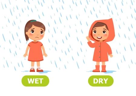 Bambina in un impermeabile e senza impermeabile sotto la pioggia. Illustrazione degli opposti asciutti e bagnati. Tessera per sussidio didattico, per l'apprendimento di una lingua straniera. Illustrazione vettoriale su sfondo bianco, stile cartone animato.