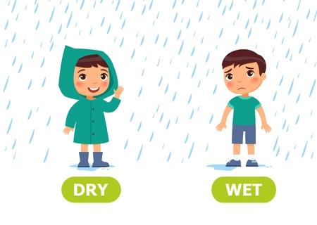 Ragazzino in un impermeabile e senza impermeabile sotto la pioggia. Illustrazione degli opposti asciutti e bagnati. Tessera per sussidio didattico, per l'apprendimento di una lingua straniera. Illustrazione vettoriale su sfondo bianco, stile cartone animato.