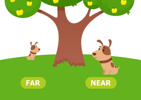 The puppy is near and far. Illustration of opposites near and far. Card for teaching aid, for a foreign language learning. Vector illustration on white background, cartoon style. Ilustración de vector