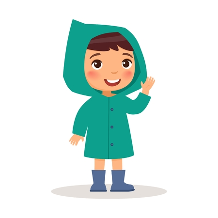 Little boy is standing in raincoat and blue rubber boots. Vector illustration on white background, cartoon style