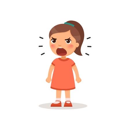 Little girl screaming. Vector illustration of a cartoon style Banco de Imagens - 123007537