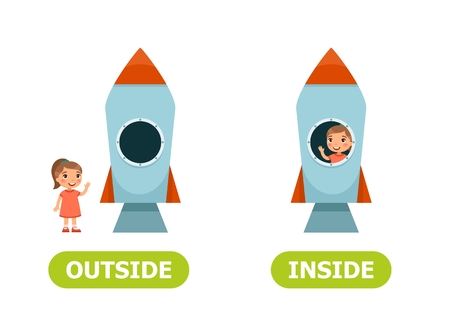 Bambina in razzo e fuori. Illustrazione degli opposti all'interno. Illustrazione vettoriale su sfondo bianco, stile cartone animato.