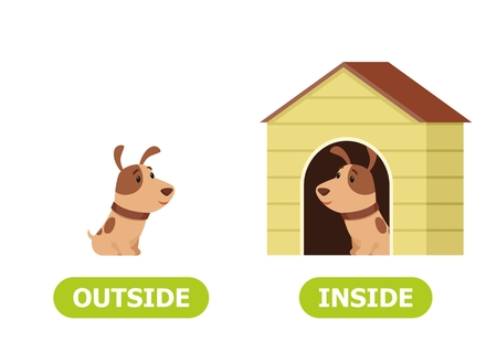 Puppy in doghouse and outside. Illustration of the opposites inside. Vector illustration on white background, cartoon style. Vettoriali