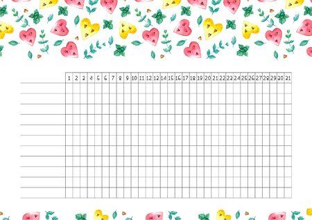 Rastreador de hábitos en blanco con diseño de tendencia. Plantilla de planificador mensual. Ilustraciones brillantes de corazones de sandías y menta.