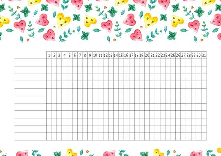Habit tracker blank with trend design. Monthly planner template. Bright illustrations of watermelons hearts and mint.