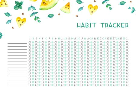 Rastreador de hábitos en blanco con diseño de tendencia. Plantilla de planificador mensual. Ilustraciones brillantes de sandías acuarelas amarillas y menta.