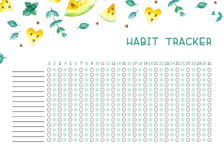 Traqueur d'habitude vierge avec un design tendance. Modèle de planificateur mensuel. Illustrations lumineuses de pastèques aquarelles jaunes et de menthe.