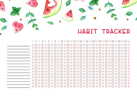 Habit tracker blank with trend design. Monthly planner template. Bright illustrations of watercolor watermelons and mint.