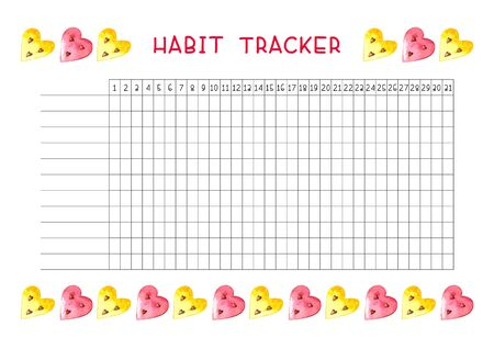 Habit tracker blank with trend design. Monthly planner template. Bright illustrations of watercolor watermelons hearts. Ilustração