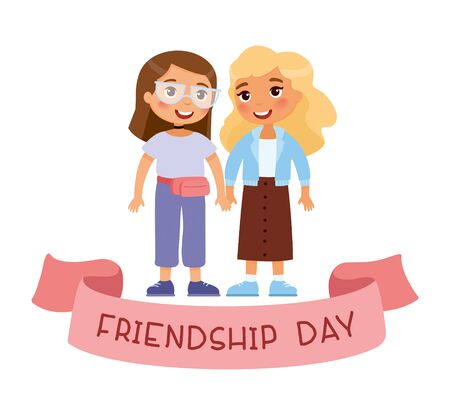Friendship day. Two young cute girls holding hands. Funky cartoon character. Vector illustration. Isolated on white background Illustration