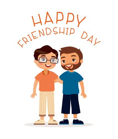 Happy friendship day. Two young guys hugging. Funky cartoon character. Vector illustration. Isolated on white background