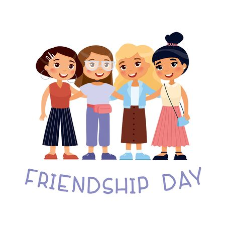 Friendship day. Four young cute girls hugging. Funky cartoon character. Vector illustration. Isolated on white background 向量圖像