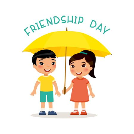 Friendship day.  Cute little asian boy and girl stand with an umbrella. Happy school or preschool kids friends playing together. Funny cartoon character. Vector illustration. Isolated on white background