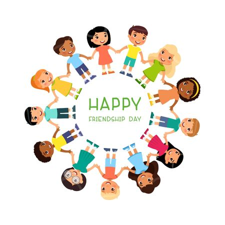 Poster with multicultural children are standing around. Friendship Day or Children's Day. Funny cartoon character. Funny cartoon character.  Vector illustration. Isolated on white background
