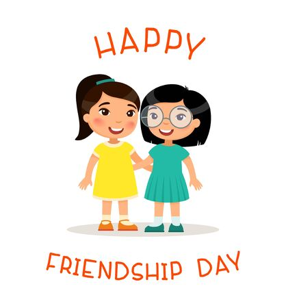 Happy Friendship Day. Two cute little asian girls hugging. Funny cartoon character. Vector illustration. Isolated on white background