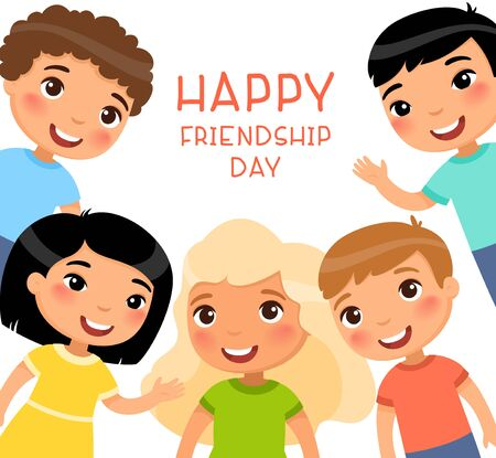 Friendship Day square poster. Five international children in a frame are smiling and waving. Funny cartoon character. Vector illustration. Isolated on white background