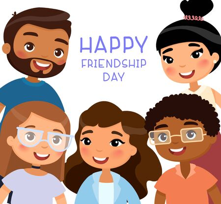 Happy Friendship Day. Five international young girls and young boys friends. Funny cartoon character. Vector illustration. Isolated on white background Ilustração