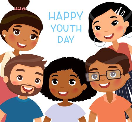 Happy Youth Day. International young girls and young boys friends. Funny cartoon character. Vector illustration. Isolated on white background  イラスト・ベクター素材