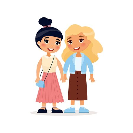 Two young girlfriends or a lesbian couple holding hands.Funny cartoon character. Vector illustration. Isolated on white background
