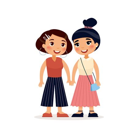 Two young a lesbian couple or girlfriends holding hands. Funky cartoon character. Vector illustration. Isolated on white background