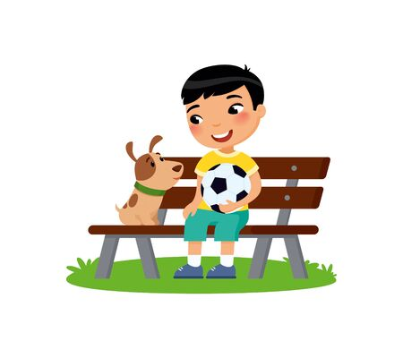 Cute little boy with soccer ball and puppy are sitting on the bench. Happy school or preschool kid and her pet playing together. Funny cartoon character. Vector illustration. Isolated on white background. Illustration
